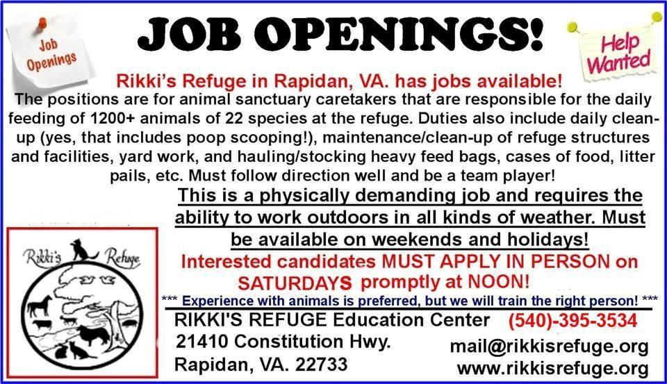Rikki S Refuge Has Job Openings Rikki S Refuge Animal Sanctuary